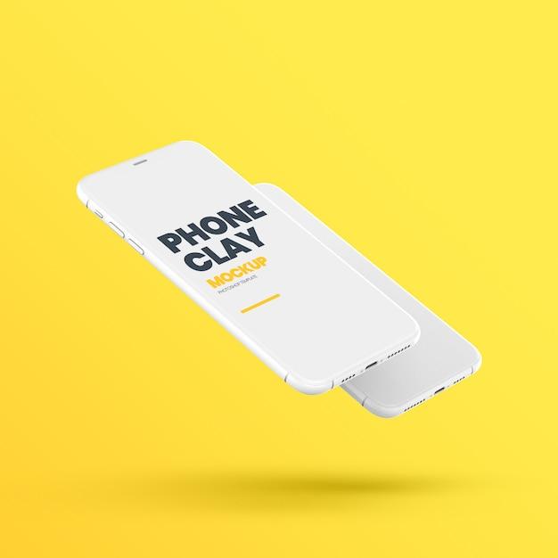 Floating clay phone device mockup Premium Psd