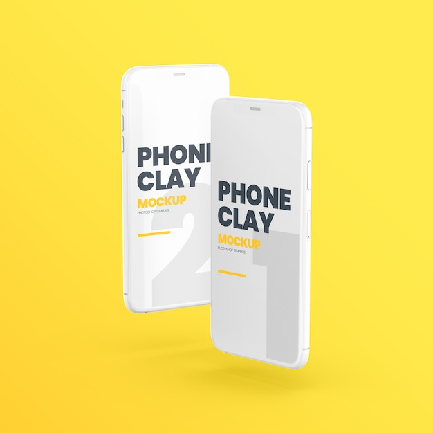 Floating clay phone devices mockup Premium Psd