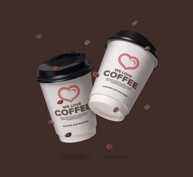 Floating coffee cups mockup with coffee beans Premium Psd