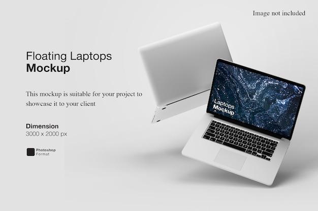 플로팅 노트북 목업 디자인 렌더링 프리미엄 PSD 파일