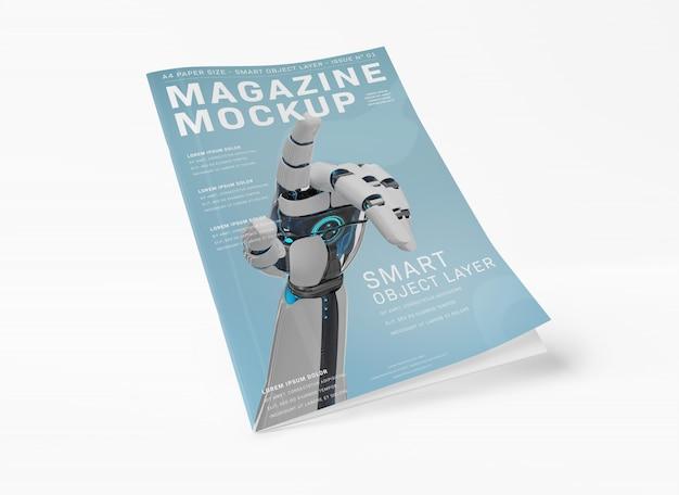 Плавающая обложка журнала на белом макете Premium Psd