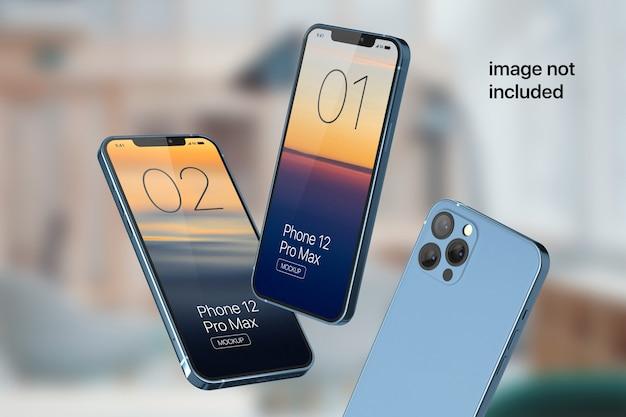 フローティング携帯電話画面モックアップ Premium Psd