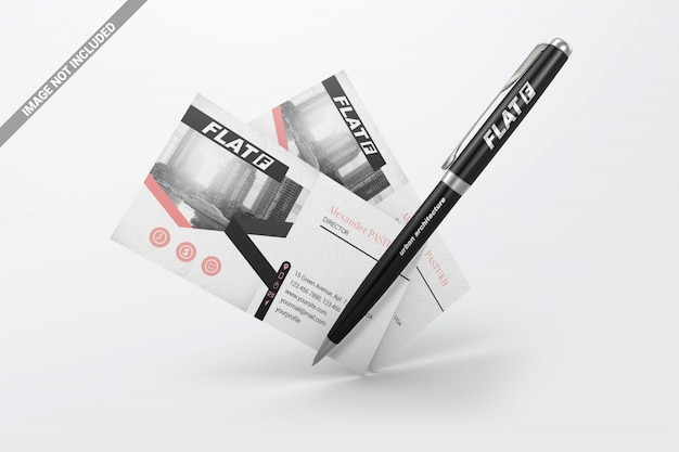 Floating pen with business cards mockup Premium Psd
