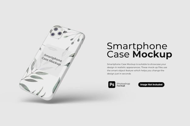 分離されたフローティングスマートフォンケースのモックアップデザイン Premium Psd