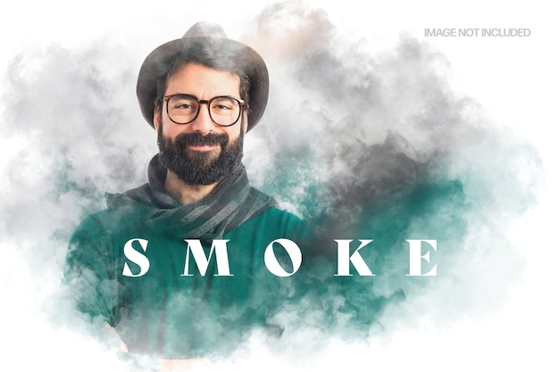 Floating smoke photo effect template Premium Psd