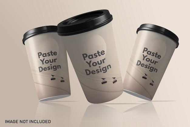 Плавающий макет бумажной кофейной чашки на вынос Premium Psd