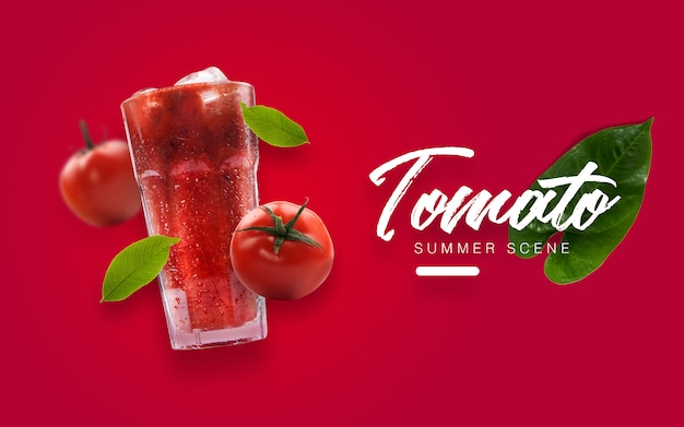 Floating tomato summer custom scene Premium Psd