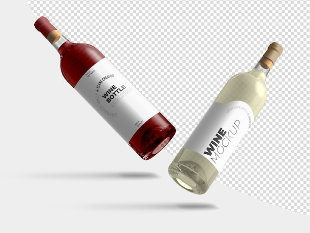 Floating wine bottles mockup template Premium Psd