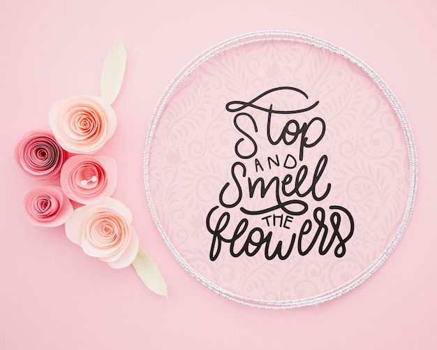 Floral artwork frame with inspirational message Free Psd