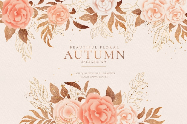 柔らかくて黄金の秋の自然と花の背景 無料 Psd