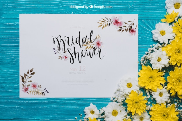 Floral bridal shower concept Free Psd