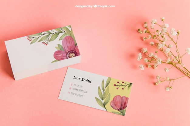 Floral business card mockup Free Psd