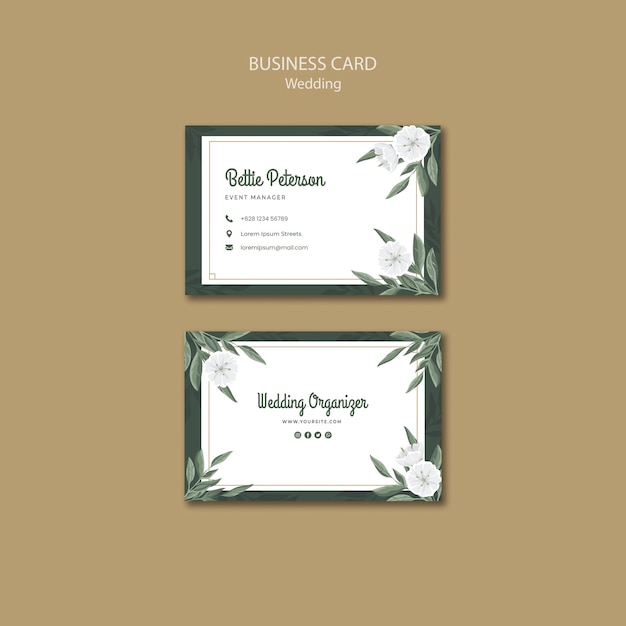 Floral business card template for wedding Free Psd