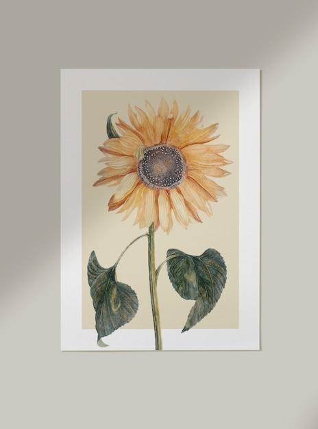 Floral card mockup Free Psd