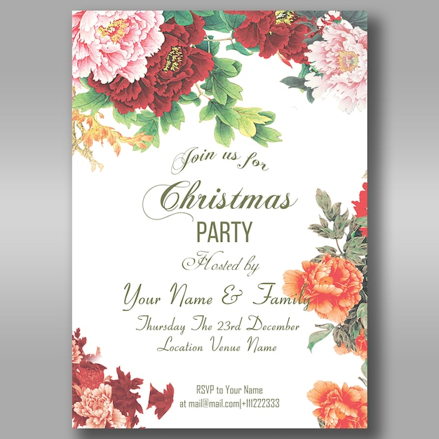 Floral christmas party invitation flyer Premium Psd