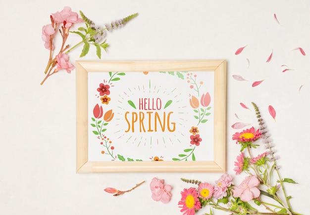 Floral frame composition for spring Free Psd