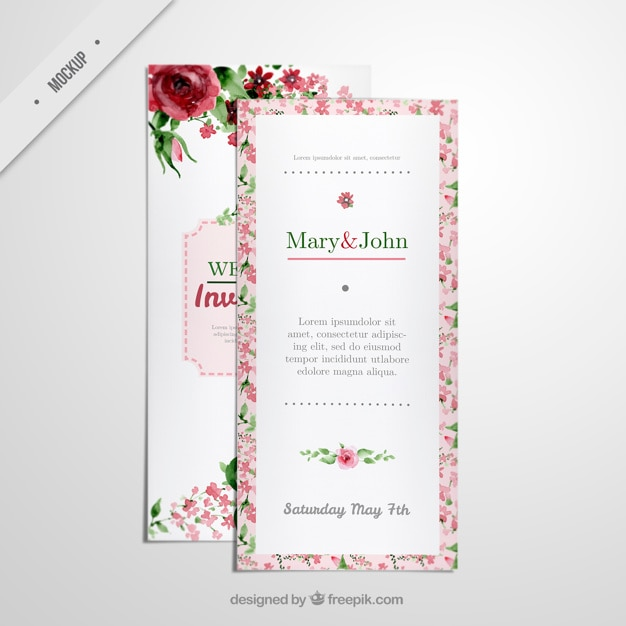 Floral Long Flyer Invitation For Wedding Psd File  Free Download
