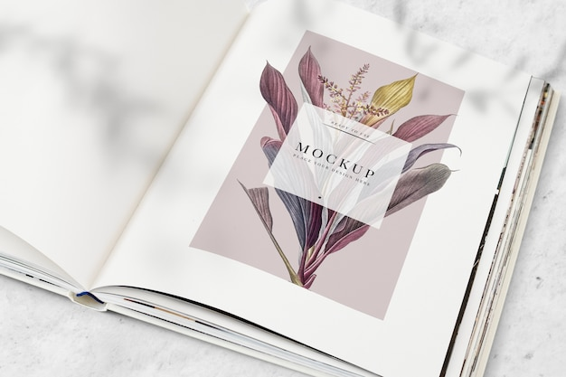 Floral magazine mockup with blank space Free Psd