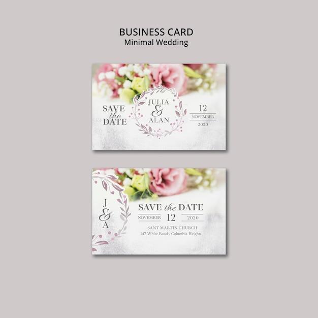 Цветочная минимальная свадебная визитка Бесплатные Psd