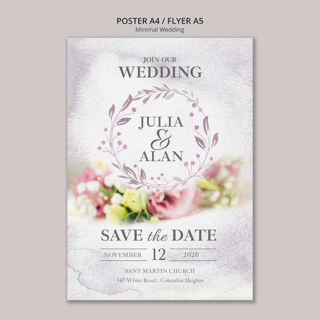 Floral minimal wedding flyer template Free Psd