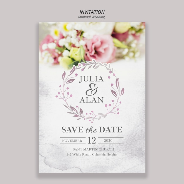 Floral minimal wedding invitation template Free Psd
