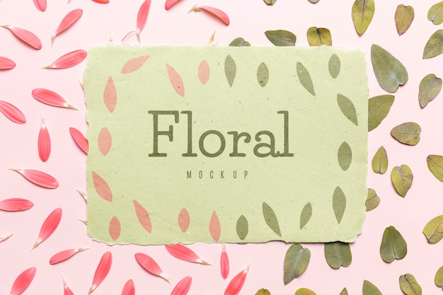 Floral mock-up with leaves and petals Free Psd