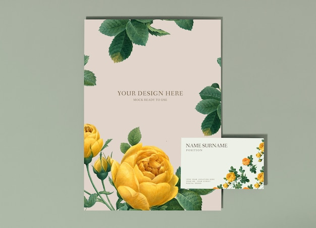 Floral poster and business card mockup Free Psd