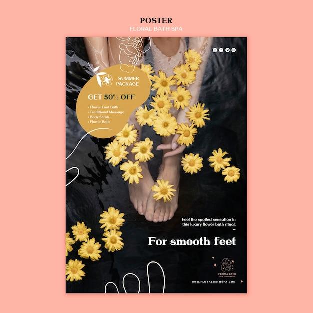 Modello di poster pubblicitario floreale spa Psd Gratuite