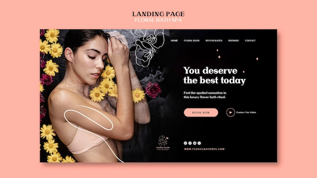 Floral spa template landing page Free Psd