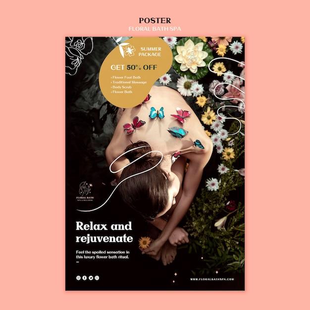 Poster modello floreale spa Psd Gratuite