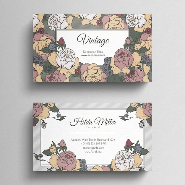 Floral vintage business card template psd file free download floral vintage business card template free psd flashek Images