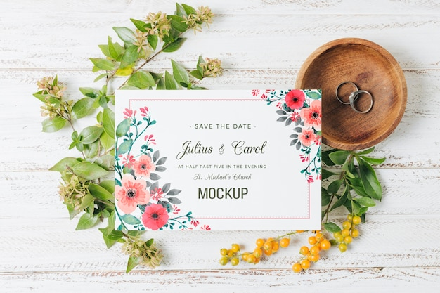 꽃 결혼식 개념 모형 무료 PSD 파일