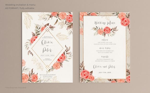 Цветочное свадебное приглашение и шаблон меню с мягкой природой Бесплатные Psd