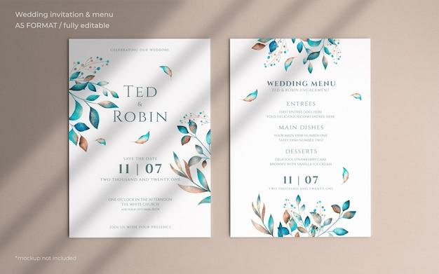 Цветочное свадебное приглашение и шаблон меню Бесплатные Psd