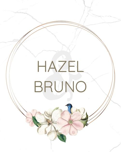 꽃 결혼식 초대 카드 이랑 무료 PSD 파일