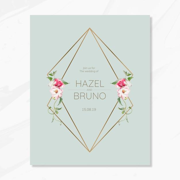 Floral wedding invitation card mockup Free Psd