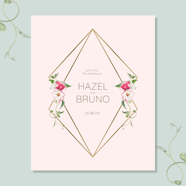 Floral wedding invitation card mockup Free Psd
