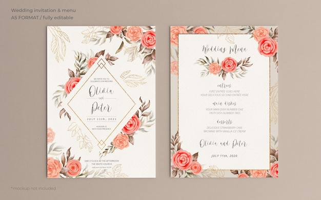 Floral wedding invitation and menu template with soft nature Free Psd