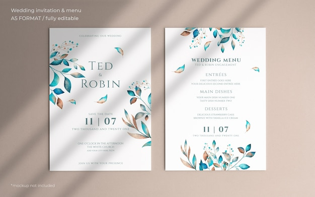 Floral wedding invitation and menu template Free Psd