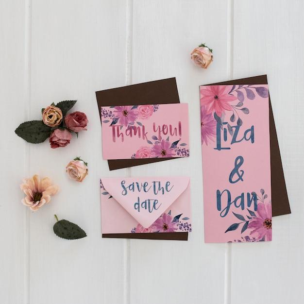 Floral Wedding Invitation Mockup Watercolor Psd File Free