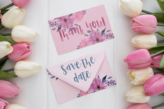 Floral wedding invitation mockup watercolor Free Psd