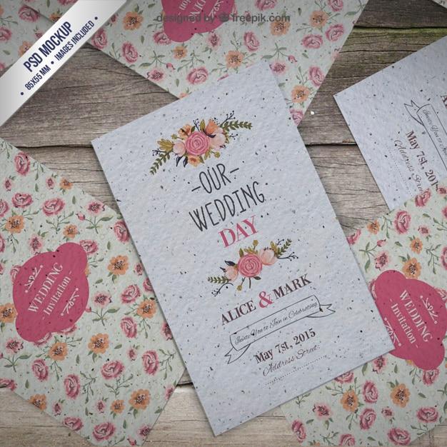 Floral wedding invitation mockup PSD file Free Download