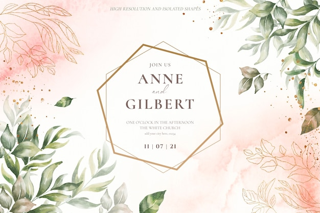 Floral wedding invitation template with soft flowers Free Psd