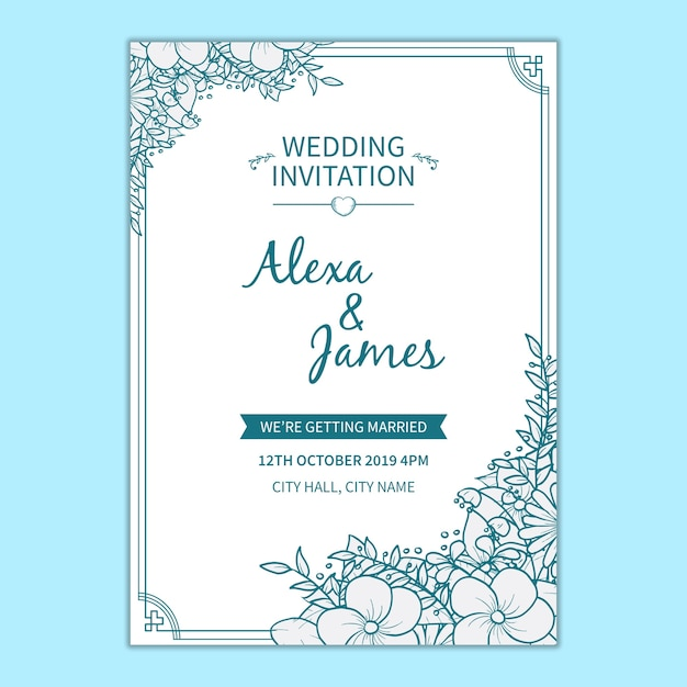 Floral wedding invitation template Free Psd