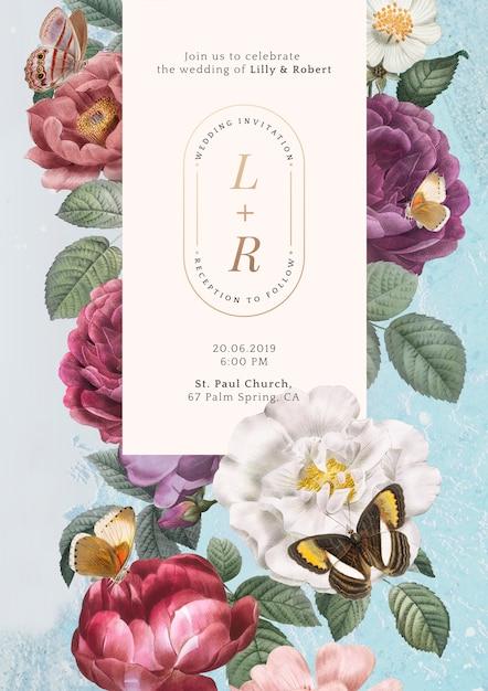 Floral wedding invitation Free Psd