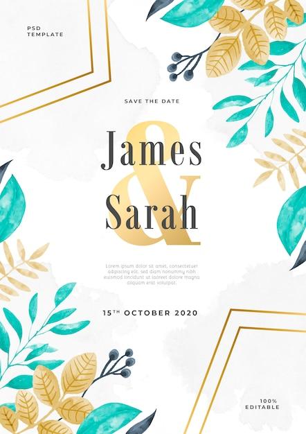 Florar watercolor wedding invitation psd template Free Psd