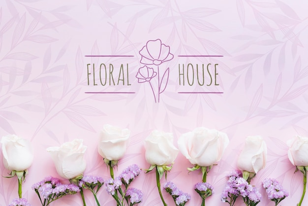 Flower boutique house and white flowers Free Psd