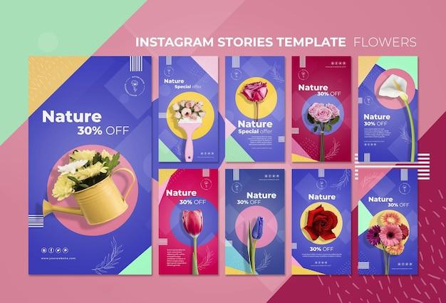 花のコンセプトinstagramストーリーテンプレート 無料 Psd