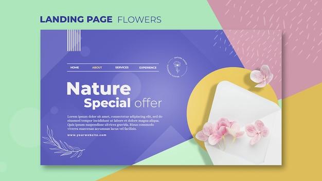 花の概念のランディングページテンプレート 無料 Psd