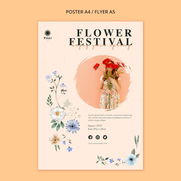 Flower festival concept poster template Free Psd